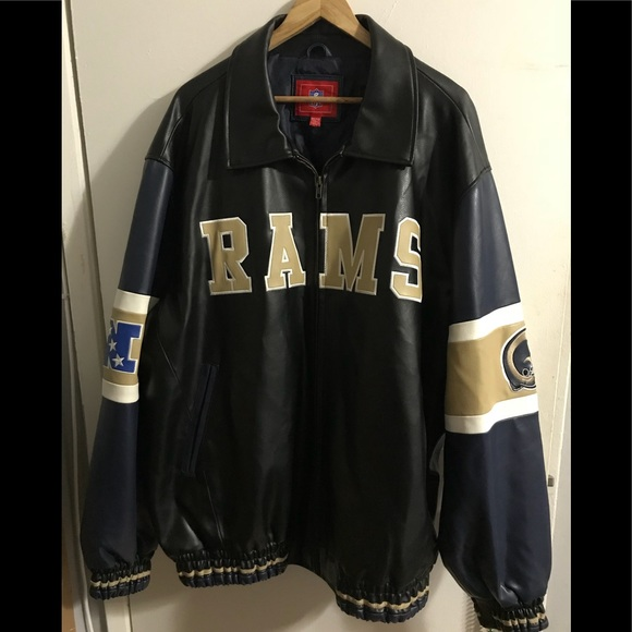 the best attitude 2bf7b 15542 G-III Apparel NFL RAMS Faux Leather Jacket Vintage